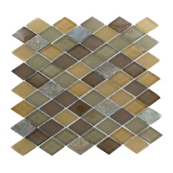 "Geological Diamond Multicolor Slate & Earth Blend Glass Tiles - Geological Diamond Multicolor Slate + Earth Blend Glass Tiles This striking diamond design has a combination of multicolor slate, brown and rust glass. These tiles are mesh mounted and will bring a sleek and contemporary clean design to any room. Chip Size: 1 1/2 x 2 Color: Multicolor, Brown, Rust Material: Slate and Glass Finish: Frosted and Polished Sold by the Sheet - each sheet measures 11""x12x (0.92 sq. ft.) Thickness: 8mm"