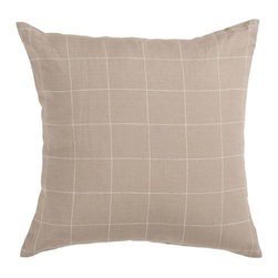 Surya Rugs - Brindle and White Grid 18 x 18 Pillow - Classy squares make this pillow the perfect addition to your roomm. Colors of beige and ivory accent this decorative pillow. This pillow contains a poly fill and a zipper closure. Add this pillow to your collection today.  - Includes one poly-fiber filled insert and one pillow cover.   - Pillow cover material: 70% Viscose, 30% Cotton Surya Rugs - JS014-1818P