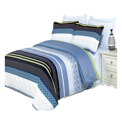 Bed Linens - Jasmine Printed Multi-Piece Duvet Set King/California King 4PC Comforter Set - Enjoy the comfort and Softness of 100% Egyptian cotton bedding with 300 Thread count fiber reactive prints.*100% Egyptian cotton *300 Thread count *Reactive Print, lasts longer and looks like real live pictures .