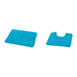 Set of 2 Bath Mat and Toilet Contour Mat Aqua - This set of one bath mat and one toilet contour mat is made of 80% cotton and 20% polyester. Soft and deep, it's a great way to freshen up a bathroom with its clean look and plush comfort. The rectangular rug is perfect beside the tub or in front of the sink and the toilet contour rug fits easily around any toilet. Machine wash cold and no dryer. Manufacturer recommends using a nonskid pad beneath the rug (not included). Indoor use only. Measures of the bath mat: width 20-Inch and length 27.5-Inch, contour mat: width 20-Inch and length 16-Inch. Color aqua. Complete that perfect look in your bathroom today with this beautiful bath mat set. Imported.