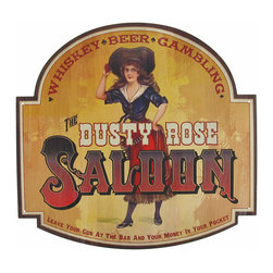 Vintage `Dusty Rose Saloon` Metal Sign - This vintage sign advertises the `Dusty Rose Saloon,` where you can drink whiskey, beer, and gamble the night away. Made of metal, the sign measures 15 1/2 inches wide, and 14 1/2 inches tall. It has pre-drilled holes in each corner, so the sign is easy to mount to any wall in your home, restaurant, or bar. It makes a great gift for a friend, and is sure to be admired.