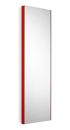 WS Bath Collections - Wall Mount Contemporary Mirror with Red Frame - Modern/ contemporary design. 5 years silvering guaranteed. Warranty: 1 year. Made of glass mirror with powder coated aluminum. Made in Italy. 12.8 in. W x 39.4 in. H (20 lbs.). Spec SheetLinea; washbasins, washstands, and bathroom furniture, of various sizes and materials. Pureness of glass, polish of steel, and warmth of wood. Perfection of lines, art, and harmony. Made by Lineabeta of Italy to Highest Industry standards.