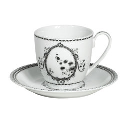Miss Blackbirdy - Miss Blackbirdy Flower Porcelain Tea Cup & Saucer, Set of 6 - Sip in stunning style with Miss Blackbirdy's cup and saucer set crafted from grade-A porcelain and inspired by high fashion. Its enchanting bird and wildflower motif reminds us of the setting for a fairy tale, the black and white palette easy to mix and match. Miss Blackbirdy was conceived by Merel Boers, a Dutch fashion designer and artist whose designs artfully mix modern femininity with a touch of naivete. Includes six tea cups and six saucersGrade-A porcelain Dishwasher and microwave safe7 oz.