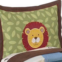 Sweet Jojo Designs - Jungle Time Pillow Sham - The Jungle Time standard pillow sham is created exclusively to coordinate with the Sweet Jojo Designs matching bedding set. This pillow sham is a quick and easy way to complete the look and theme in your child's bedroom. Machine washable. Fits all standard sized pillows. Dimensions: 20in. x 26in.