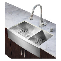 Vigo Industries - 36 in. Double Bowl Kitchen Sink and Faucet Set - Includes apron front sink, faucet, soap dispenser, two matching bottom grids, two strainers, all mounting hardware and hot-cold waterlines.