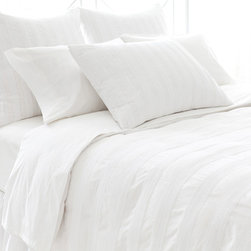 Pine Cone Hill - Pine Cone Hill Mod Pintuck White Duvet Cover - Pine Cone Hill Mod Pintuck White Duvet CoverDress up your bedroom with Pine Cone Hill's Mod Pintuck White Duvet Cover. Sweet pintuck detailing creates tone-on-tone stripes and delightful texture in a fresh, white hue. The fine cotton fabric can be dressed up or down depending on your decor style. Pair it with pale pastels and feminine florals for a romantic look, or keep it clean and contemporary with charcoal grays and sleek stripes.Available in three sizes