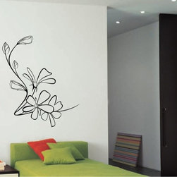 StickONmania - Flower Design #59 Sticker - A cool vinyl decal wall art decoration for your home  Decorate your home with original vinyl decals made to order in our shop located in the USA. We only use the best equipment and materials to guarantee the everlasting quality of each vinyl sticker. Our original wall art design stickers are easy to apply on most flat surfaces, including slightly textured walls, windows, mirrors, or any smooth surface. Some wall decals may come in multiple pieces due to the size of the design, different sizes of most of our vinyl stickers are available, please message us for a quote. Interior wall decor stickers come with a MATTE finish that is easier to remove from painted surfaces but Exterior stickers for cars,  bathrooms and refrigerators come with a stickier GLOSSY finish that can also be used for exterior purposes. We DO NOT recommend using glossy finish stickers on walls. All of our Vinyl wall decals are removable but not re-positionable, simply peel and stick, no glue or chemicals needed. Our decals always come with instructions and if you order from Houzz we will always add a small thank you gift.
