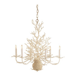 Kathy Kuo Home - Seasong White Coral Vintage Chic Coastal Chandelier - Imitating nature is a true art form that is expressed in this highly detailed chandelier.  The faux coral is beautifully recreated by wrought iron and finished in an off white distressed finish enhanced with the application of natural sand.  Coordinating wall sconce available as well.