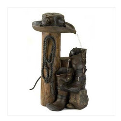 n/a - Wild Western Water Fountain - Who says fountains has to be frilly?  This ranch-style accent is loaded with authentic cowboy styling for a delightfully different take on garden decor.  Real rustic weathered finish makes it an instant perfect fit for the great outdoors.  Polyresin.  UL recognized.  Some assembly required.  Pump included.