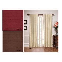 None - Stanford Silk 84-inch Window Panel - Add a fresh splash of color to your home and windows with this 84-inch long silk window panel available in ivory,chocolate,or red wine. Made of 100-percent silk with a full lining,this energy-saving window panel will add lavish detail to windows.