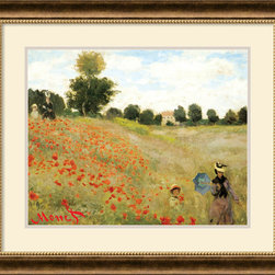 Amanti Art - Poppies at Argenteuil, 1873 Framed Print by Claude Monet - Poppies at Argenteuil (Les Coquelicots, Argenteuil) is one of Claude Monet's most famous and beautiful paintings, done in 1873. Monet believed that people are a part of nature, and here the figures merge into the green field, allowing the red poppies, green fields, and blue summer sky to dominate the tranquil painting.