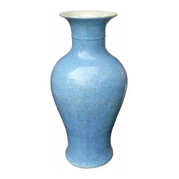 Belle & June - Aqua Crackle Fish Tail Vase - This cheery and elegant aqua fish tail vase adds a gorgeous touch of color to any room in your home. The round lines and circular shape make this the perfect focal point on a table or credenza. Try clustering with other yellow vases or mix it up and pair with our white porcelain pieces.