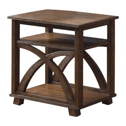 Liberty Furniture - Liberty Furniture Chesapeake Bay 26x22 Rectangular End Table in Oak - Casual styling with arched x end panels. Oak veneers with a wire brush sunset finish combine with antique brass knob hardware. Two baskets fit in the shelf of the sofa table for added storage and style. What's included: End Table (1).