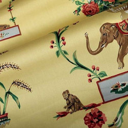 Azweema Floral Fabric in Yellow - Azweema Floral Fabric in Yellow is a European, 100% Combed Cotton Sateen with a classic floral print perfect for window treatments or bedding and pillows. The traditional floral patterns play alongside wild animals like tigers, elephants, monkeys, and tropical birds, creating an interesting look. This smooth sateen is a wonderful way to add a touch of the exotic to an otherwise traditional design. Width: 54″ Repeat: 25.25″