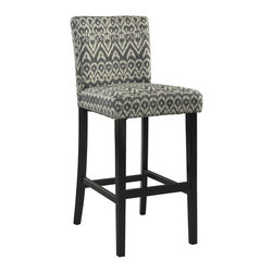 Linon Home Decor - Linon Home Decor Morocco Stool - Driftwood X-U-DK-10-FIRD6220 - The Driftwood Morocco Stool is a trendy, new-age seating solution for a counter, bar or table. The stool has a modern ikat design that is perfect for adding a splash of pattern and eye-catching style to your space. The straight lined, smooth legs are finished in a dark black. Some Assembly Required. 275 pound weight limit.