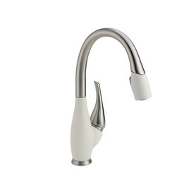 Delta - Stainless and Cracked Pepper Single Handle Pull-Down Kitchen Faucet, Snowflake W - Smart Features: