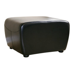 Wholesale Interiors - Black Full Leather Ottoman with Rounded Sides - This ottoman is a versatile piece useful in any room of your home. This elegant ottoman provides styles which allows you to match your existing leather sofa set. Frame built to last with sturdy construction consisting of kiln dried hardwood frame, with high density foam padding. Durable polyurethane coated leather upholstery for longer lasting use and stain resists for easy clean up. Contemporary clean line design with tapered down base. Leg constructed with solid rubber wood with veneer finish completes with elegant smooth, clean lines design. This Ottoman offers up the perfect way to sit back and relax. The perfect combination of quality craftsmanship with simple and sophisticated designs, that will instantly enhance any room decor.