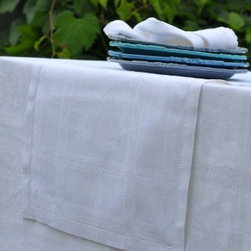 """Origin Crafts - Natalie white table runners 20x59 - Natalie White Table Runners 20x59 100% linen. We have a wide collection of 100% linen table runners to suit your decor style, ranging from solid to jacquard,casual to luxurious and contemporary to French country chic. They can be placed along the table or across it, depending on the look that you want to achieve. Beautiful hemstitched edges highlight the sophistication of a linen runner and make it an attractive element in any interior.Dimensions (in): 20"""" x 59"""" By Linen Way - Linen Way is a family-owned wholesale business that sells the finest home textiles, handpicked from around the world. Linen Way offers inspirational products for your life and home in traditional and modern designs. Estimated Delivery Time 1-2 Weeks. Please be aware that some products are handmade and unique therefore there may be slight variations in each individual product."""