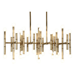 Robert Abbey - Jonathan Adler Meurice Chandelier - Now here's a bright idea for your dining area. Metal rods are fitted with exposed light bulbs on each end for a fixture that's positively illuminating.