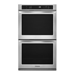 "KitchenAid - Architect Series II KEBS209BSS 30"" Double Electric Wall Oven with 5.0 cu. ft. Pe - The KitchenAid KEBS209B 30 in built-in double wall oven delivers the most even baking among leading premium brand 30-inch wall ovens and features convection cooking With the innovative Even-Heat Technology exclusive to KitchenAid youll get the perfec..."