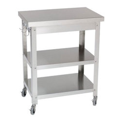 """Danver - B0618564Cocina Kitchen Serving Cart - Whether you are a novice cook or a professional chef, you know how hard it is to find good help and space in the kitchen. This stainless steel kitchen cart instantly adds the help you need and the space you desire. Stainless steel is more resistant to corrosion and heat which makes this kitchen cart a great investment. No matter how you style your kitchen this stainless steel kitchen cart is sure to be a great compliment. Features: -Food service grade stainless steel legs and shelves.-Non-marring commercial grade locking casters.-Stainless steel utensil hanger.-Can be used indoors and outdoors.-Constructed of stainless steel.-Finish: Metallic.-Countertop Finish: Brushed mill finish.-Distressed: No.-Countertop Material: Stainless steel with MDF core.-Hardware Included: Yes.-Hardware Material: Stainless steel.-Woven Material: No.-Powder Coat Finish: No.-Gloss Finish: No.-Solid Wood Construction: No.-Water Resistant or Waterproof: Stainless steel is highly resistant to rust when exposed to water..-UV Resistant: No.-Rust Resistant: Yes.-Stain Resistant: No.-Foldable: No.-Number of Shelves: 2.-Adjustable Shelves: No.-Removable Shelves: No.-Sink Included: No.-Attached Bottle Opener: No.-Wine Rack: No.-Ice Bin Included: No.-Blender Included: No.-Built in Glass Rack: No.-Wheel Material: Plastic.-Foot Rest: No.-Roof Included: No.-Weight Capacity: 100 lbs.-Swatch Available: No.-Commercial Use: Yes.-Recycled Content: 0%.-Eco-Friendly: No.-Product Care: The nuts and bolts on the unit may need to be tightened after continued use..-Country of Manufacture: United States.Specifications: -FSC Certified: No.Dimensions: -Overall Height - Top to Bottom (Without Casters) : 30"""".-Countertop Width Side to Side: 27.16"""".-Countertop Depth Front to Back: 18.16"""".-Open Storage Height: 11.25"""".-Open Storage Width Side to Side: 24.75"""".-Open Storage Depth Front to Back: 15.75"""".-Drawer Height: 2.5"""".-Drawer Width Side to Side: 21"""".-Drawer Depth Front to B"""