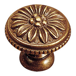 """Louis Xv Collection Solid Brass Knob - 130 - 13035ae - Finish Antique English Diameter 1.375"""" Length - Overall Dimensions 1.375"""" Projection - Overall Dimensions 1.188"""" Collections Louis XV Collection Material Solid Brass Screw/Nail M4 (Not Included) Packaging format Per unit"""