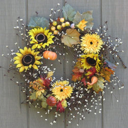 Sunflower and Pumpkin Harvest Wreath by Simple Joys of Life - I love the delicate grapevine with berries, sunflowers, mums and miniature pumpkins in this wreath.