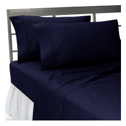 SCALA - 1000 TC Queen Size Solid Navy Blue Color Fitted Sheet - We offer supreme quality Egyptian Cotton bed linens with exclusive Italian Finishing. These soft, smooth and silky high quality and durable bed linens come to you at a very low price as these come directly from the manufacturer. We offer Italian finish on Egyptian cotton, which makes this product truly exclusive, and owner's pride. It's an experience and without it you are truly missing the luxury and comfort!!