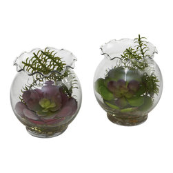 Nearly Natural - Succulent with Fluted Vase (Set of 2) - How about a beautiful succulent plant, nestled comfortably inside a small, fluted vase - can you say 'ball of delight?' And how about we double it, and make it a set of two? That's what we have here - a set of two lush succulents, lovingly placed into fluted vases, complete with faux water and river pebbles. Makes a beautiful pair of decorations, perfect for both home and office.