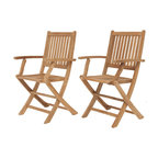 International Home Miami - Amazonia Teak London Teak Folding Armchair (set of 2) - 100% High quality Teak wood