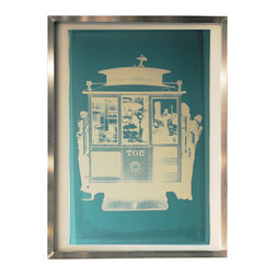 "Silkscreen Framed Art - Cable Car - Shown: 23"" x 31"" Aluminum frame, Blue Emulsion with White Ink."