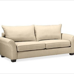 """PB Comfort Roll UpholsteredGrand Sofa Knife-EdgeTextured BasketWeaveCamelUpholst - Built by our own master upholsterers in the heart of North Carolina, our PB Comfort Upholstered Grand Roll-arm Sofa is designed for unparalleled comfort with deep seats and three layers of padding. 93.5"""" w x 42"""" d x 39"""" h {{link path='pages/popups/PB-FG-Comfort-Roll-Arm-4.html' class='popup' width='720' height='800'}}View the dimension diagram for more information{{/link}}. {{link path='pages/popups/PB-FG-Comfort-Roll-Arm-6.html' class='popup' width='720' height='800'}}The fit & measuring guide should be read prior to placing your order{{/link}}. Choose polyester wrapped cushions for a tailored and neat look, or down-blend for a casual and relaxed look. Choice of knife-edged or box-style back cushions. Proudly made in America, {{link path='/stylehouse/videos/videos/pbq_v36_rel.html?cm_sp=Video_PIP-_-PBQUALITY-_-SUTTER_STREET' class='popup' width='950' height='300'}}view video{{/link}}. For shipping and return information, click on the shipping tab. When making your selection, see the Quick Ship and Special Order fabrics below. {{link path='pages/popups/PB-FG-Comfort-Roll-Arm-7.html' class='popup' width='720' height='800'}} Additional fabrics not shown below can be seen here{{/link}}. Please call 1.888.779.5176 to place your order for these additional fabrics."""