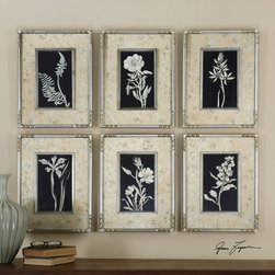 Uttermost - Uttermost Glowing Floral Framed Art Set Of 6 - These Prints Are Accented By Mats With A Silver Leaf Look With Aged  Antique Accents Coming Through The Silver. Matching Frames And Fillets In Silver Leaf Add The Finishing Touches To This Artwork.