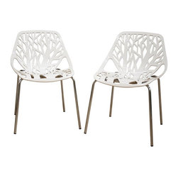 Wholesale Interiors - Birch Sapling White Plastic Accent and Dining Chairs, Set of 2 - This chair lends a modern touch of the beauty of a white birch tree to your home. The intricate cut-out design is ideal around a minimalistic dining table or simply as a standalone chair in an entryway or extra room. It is constructed with a sturdy molded plastic seat atop a steel frame with a shiny silver chrome finish. Black non-marking feet finish off the chair. This chair is stackable, and assembly is required.