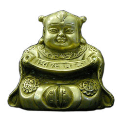 Golden Lotus - Chinese Silver Pewter Color Lucky Kid Decor Figure - This is an oriental figure of a kid bringing / holding luck fortune.
