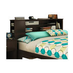 South Shore - South Shore Breakwater Full / Queen Bookcase Headboard in Chocolate - South Shore - Headboards - 3119092 - The Breakwater Bookcase Headboard is constructed from laminated particle board in a chocolate finish. The headboard is compatible with Full or Queen size beds. It features three front openings for ample storage and a side compartment providing additional storage. The practical Breakwater Bookcase Headboard will fit comfortably with your decor in the bedroom.