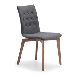 Zuo Modern - Orebro Chair Graphite Fabric (Set of 2) - The Orebro Chair has tufted and button accents on a retro textured fabric seat with walnut stained wood legs.
