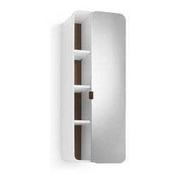 WS Bath Collections - 31.9 in. Bathroom Cabinet in White and Rust - Contemporary design. Three shelves. Mirrored door. Designer high end quality. Warranty: One year. Made from plywood and stainless steel. Made in Italy. 12 in. W x 8.1 in. D x 31.9 in. H (30 lbs.). Spec Sheet