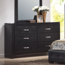 """Coaster - Dylan Dresser - The Dylan collection includes stylish bedroom pieces that will help you transform your master suite into a calming oasis. Features clean lines, with wood veneered tops and case sides and fronts. The luxurious storage pieces are accented with silver metal handles for a modern touch, while a stunning upholstered bed covered in rich black faux leather acts as the focal point. Crafted from select hardwoods and veneers.; Transitional Style; Dylan Collection; Black finish; Made of select hardwoods and okume veneer; Felt lined top drawers; English dovetailed drawers; No assembly required.; Dimensions: 59""""L x 15.75""""W x 32""""H"""