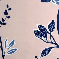 Floral - Large - Navy Upholstery Fabric - Item #1009502-206.