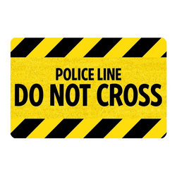 Bungalow Flooring - Police Line Cushion Mat - Made to order. Graphic mat adds comfort and style. Machine washable. For indoor use. 18 in. L x 27 in. W x 0.3 in. H