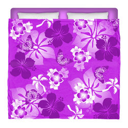 "Eco Friendly Made In USA ""Aloha Purple"" Hibiscus and Butterflies King Comforter - Dream of Hawaiian Days and Nights With This Premium ""Aloha Purple"" Hibiscus and Butterflies King Size Comforter From Our Surfer Hawaiian Bedding Bed and Bath Collection."