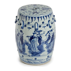 Blue and White Qing Dynasty Ceramic Garden Stool - This is a very elegant blue and white Chinese garden stool in the Qing Dynasty style.