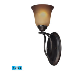 Elk Lighting - Elk Lighting Malaga Wall Sconce with Aged Bronze X-DEL-1/03511 - With Clean And Flowing Style, This Series Has Sophisticated Double Arm Construction With A Subtle Arch That Gracefully Supports Flared Glass.  A Choice Of Finishes Include Brushed Nickel With Opal White Glass Or Aged Bronze With Antique Amber Glass.  - LED Offering Up To 800 Lumens (60 Watt Equivalent) With Full Range Dimming. Includes An Easily Replaceable LED Bulb (120V).