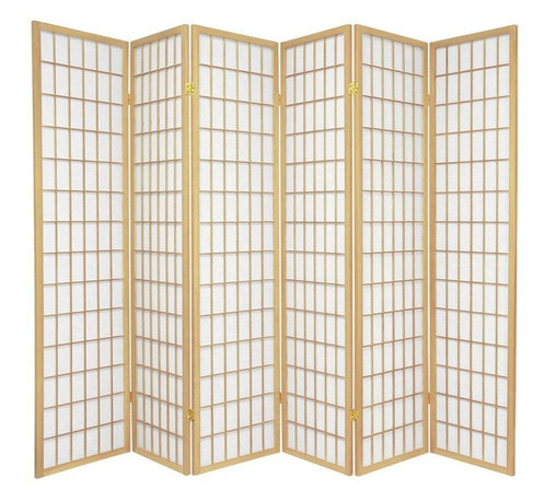 Oriental Furniture - 6 ft. Tall Window Pane Shoji Screen - Natural - 6 Panels - One of the most popular room dividers, the Window Pane Shoji Screen features a classic design versatile enough to complement any style of decor. Hand constructed from Scandinavian Spruce and fiber-reinforced Shoji rice paper, these screens are durable, lightweight, and easy to fold up and move. This room divider will meet your decorating needs. Every room has a space for one of these screens.
