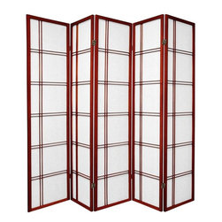 Oriental Furniture - 6 ft. Tall Double Cross Shoji Screen Double Sided - Rosewood - 5 Panels - Based on a traditional Japanese design, this versatile Shoji room divider has an elegant wooden lattice on both sides. Shoji rice paper has been used in Japanese houses for a thousand years due to its beauty, lightness, and translucence. This handsome room divider uses this time-tested material in a lightweight spruce frame that looks both classic and refreshingly modern. Perfect for dividing space, providing privacy, or adding a cosmopolitan accent that will complement any style of home decor.