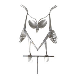 Forked Up Art - Owl - Fork and Spoon Garden Stake - A great display for the garden!
