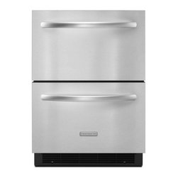 """KitchenAid - Architect Series II KDDC24RVS 24"""" 5.1 cu. ft. Capacity Double Drawer Built In Re - Keep your groceries easily accessible with this double-drawer refrigerator that features an interior LED light for a clear view Two refrigerator drawers provide additional storage options in the kitchen or other areas of the home Electronic controls ..."""