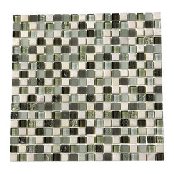 "Glacier Green Glass Stone Blend 5/8 X 5/8 Mosaic - Glacier Green 5/8"" x 5/8"" Glass and Stone Blend tiles are a beautiful greens. Best uses include wall applications in both residential and commercial properties for kitchens, baths, and any accent walls."