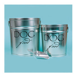 Frontgate - Classic Dog Food Storage Canister - Made of durable, rust-resistant galvanized steel. White canisters are powdercoated. FDA food-safe approved. Handy aluminum scoop included. Our Pet Food Storage Canisters offer the best way to keep your pet's food safe, dry, and fresh. Each of these roomy canisters features air-tight storage to keep out air and moisture, resulting in longer-lasting freshness and less waste. . . . .